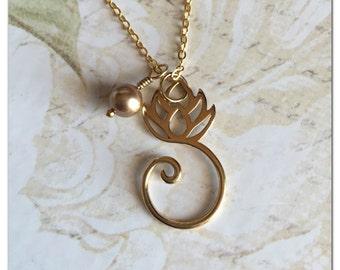 Gold Lotus Necklace - Lotus Flower Necklace - Zen Necklace - Lotus Flower Jewelry - Blooming Lotus Necklace Yoga Jewelry Bronze Lotus Charm