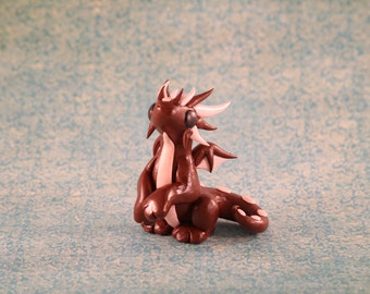 Dragon Sculpture, Polymer Clay Dragon Brown and Pink