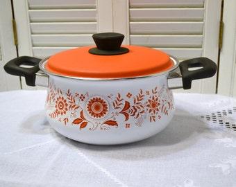 Vintage Debonaire Cookware Dutch Oven Folk Art Design Red Orange Enamelware Japan PanchosPorch