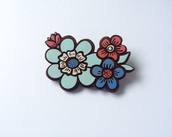 Laser cut flower painted brooch