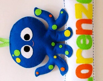 Octopus - Designed-to-order personalised Felt name banner / plaque, Perth