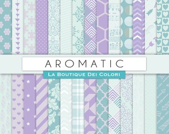 Aromatic Teal and Lavender Digital Paper. Digital Scrapbook Violet and seafoam paper patterns, Instant Download for Commercial Use