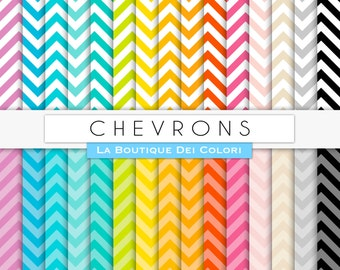 Scrapbooking chevron Digital Paper, all colors small chevrons Rainbow Printable Instant Download for Personal and Commercial Use.