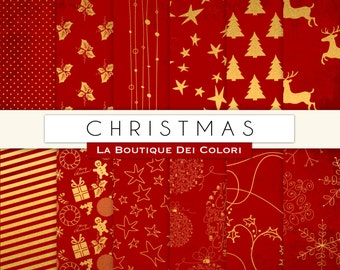 Red and Gold Christmas digital paper, gold background, christmas tree, stars, snowflakes background for Commercial Use