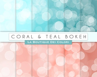 Coral and teal Bokeh digital paper. Dots, sparkles Bokeh background scrapbooking printables, Commercial Use. Peach tiffany turquoise