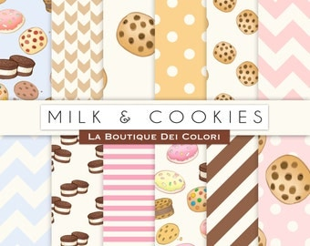 Milk and Cookies Digital Paper, Stripes, Chevron, Polkadots, Milk and Cookie Party, Instant Download for Personal and Commercial Use