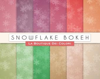 Snowflake digital paper. red bokeh digital paper pack. Gradient background patterns for commercial use clipar. Christmas scrapbook