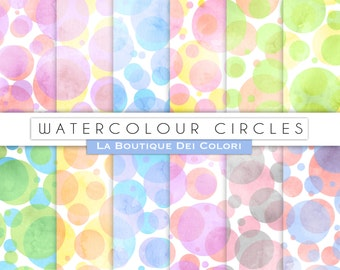 Bokeh Watercolor circles Digital Paper dotted Watercolor Printable Download Red Green Pink Blue Yellow Commercial Use