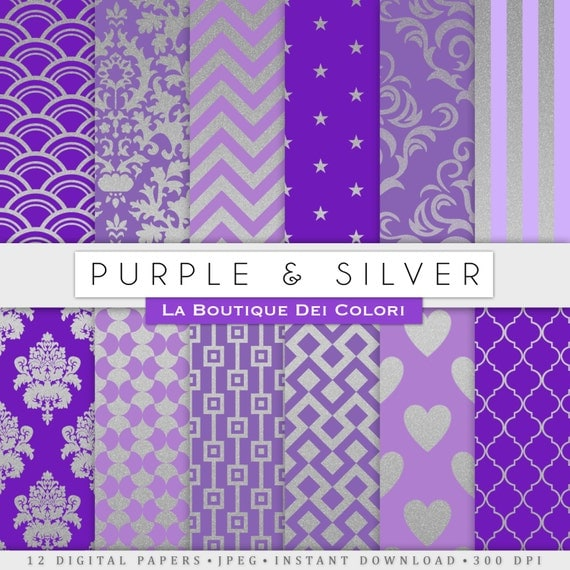 Purple And Silver Wedding Backgrounds: Purple And Silver Digital Paper Gold Background Silver