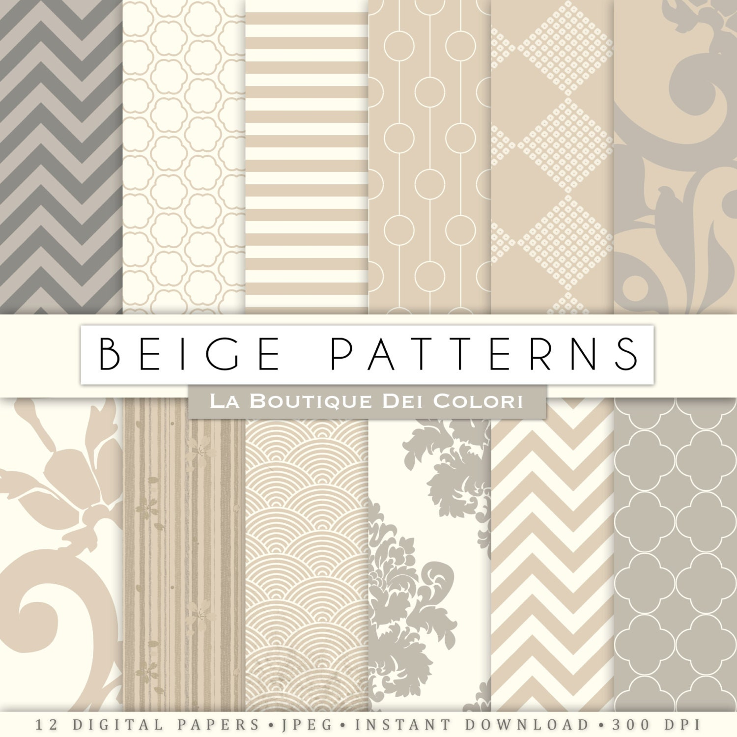 Old Beige Texture Digital Paper Cream Background Damask