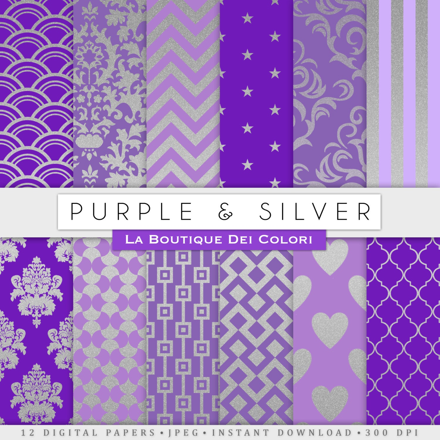 Purple and silver digital paper gold background silver for Purple and silver wallpaper