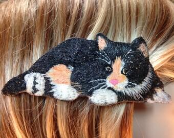 Calico Cat Barrette, Cat French Barrette, Hand Painted Cat Barrette, Black Pussy Cat Hair Clip, Calico Cat Necklace, Cat Pendant