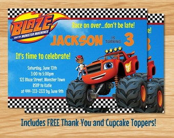 Custom Made Blaze Birthday Invitation, Blaze Birthday, Blaze Invitation,  Blaze and the Monster Machines, Blaze Party Invitation, Blaze