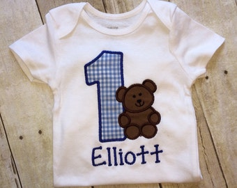 Baby Boy first birthday outfit - Blue gingham and teddy bear , 1st  birthday Teddy Bear outfit - Baby boy personalized , 1st Birthday boy