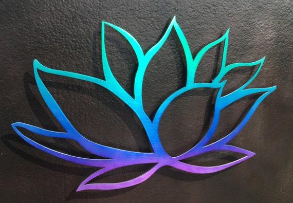 Tri-Colored Lotus Flower Metal Wall Art Metal Art Yoga