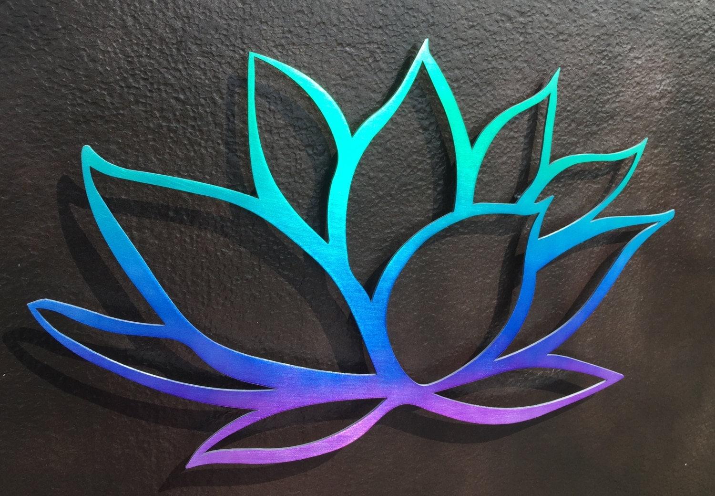 Wall Art Lotus Flower : Tri colored lotus flower metal wall art yoga