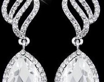 Luxurious Austrian Crystals Teardrop Earrings (Medium-Large)