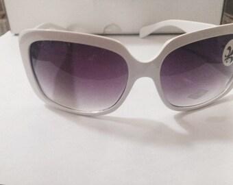 White Fleur De Lis Sunglasses