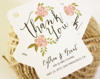 Custom 24 Personalized Modern Floral Rustic Favor Tags: Birthdays, Weddings, Bridal Shower, Baby Shower, Graduation...etc.