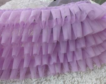 Lavender Lace Trim, Tulle Ruffle Lace, 5 Layers Ruffle Lace, Wedding-Baby Dress-Tutu Dress