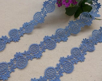 Exquisite Venice Lace Blue Hollowed Circle Lace Trim 0.98 Inch wide 2 yards