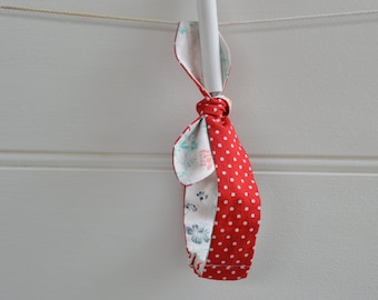 Red headband - headknot, girls hairband, red spot, floral, gift
