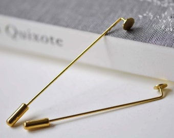 10 pcs Gold Lapel Pin Stick Pin Clutch 4x60mm With 5mm Pad A7883