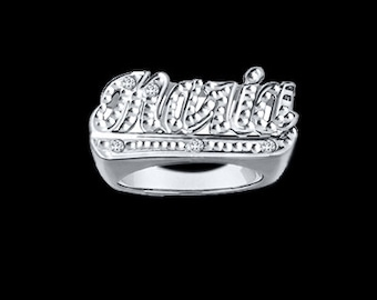 Personalized Name Ring with Diamond Cut (NR90622) ss