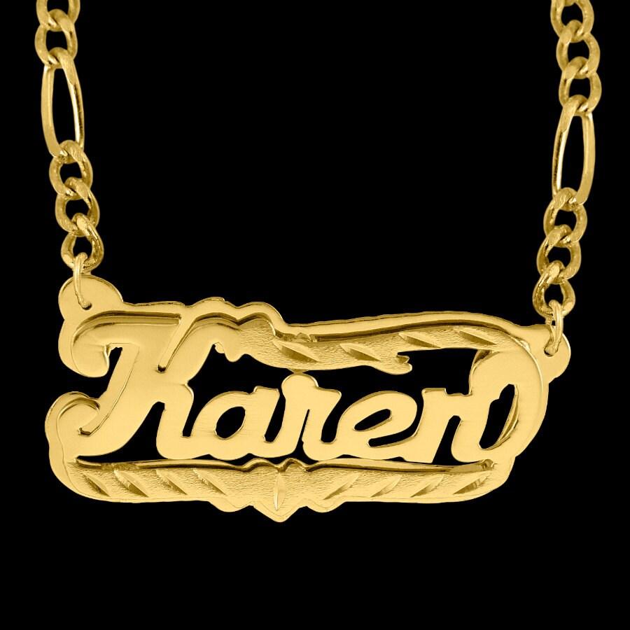 double plate diamond cut name necklace karen. Black Bedroom Furniture Sets. Home Design Ideas