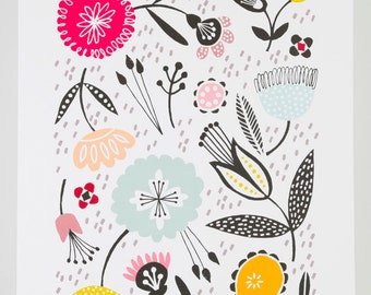 Mid century floral graphic illustration giclee A3 print