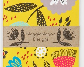 Yellow floral notebook A6 by MaggieMagoo Designs. Designed & printed in the UK.