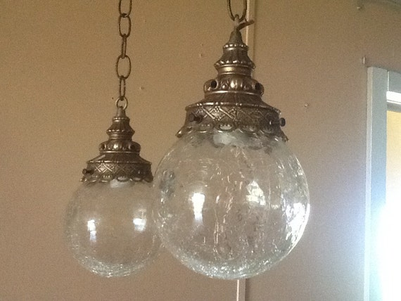 antique vintage hanging light fixture 2 cracked glass globes 1930s. Black Bedroom Furniture Sets. Home Design Ideas