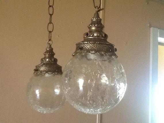 antique vintage hanging light fixture 2 cracked glass globes 1930s. Black Bedroom Furniture Sets. Home Design Ideas