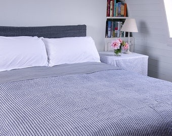 STRIPED COTTON BEDSPREAD - Dark grey and white stripes