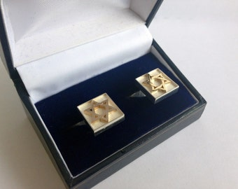 Sterling Silver 9K Gold Square Star Of David Cufflinks Judaica Jewelry