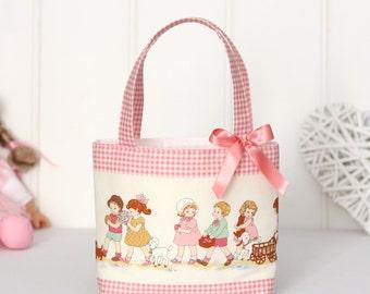 Little Girls Bag / Mini Tote Bag / Girls Bag / Kids Bag / Girls Purse - Vintage Children Print