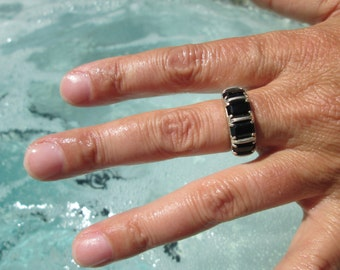 Black Onyx and Sterling Silver Ring Size 7