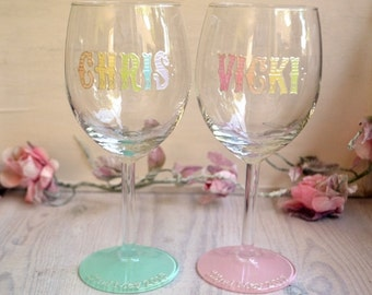 Wine glasses, wedding glasses, pastel wedding, personalised glasses, anniversary glasses