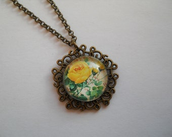 Tiny pendant, yellow rose pendant, glass pendant, antique brass necklace, dainty pendant, rose flower necklace, glass cabochon jewelry