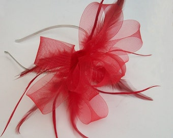 Red Fascinator Red Feather Fascinator for Wedding Evening wear Kentucky Derby Fascinator Ascot Hair Fascinator for races Red Headband