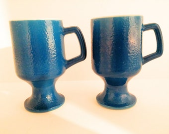 Pedestal Coffee Mugs. Blue Textured Orange Peel Milk Glass Pedestal. Set of 2. Retro, Mod Coffee Cups. Vintage Kitchen.