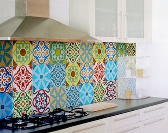 Tile Decals Set Of 15 Tile Stickers For Kitchen Backsplash Tiles Colorful Moroccan Tiles Vintage Style