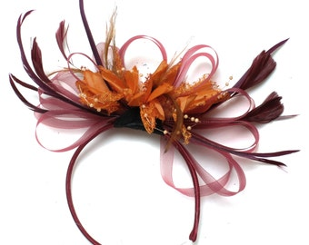 Burgundy & Orange Fascinator on Headband