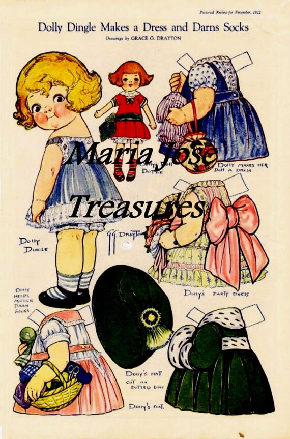 Dolly Dingle makes a dress Paper Dolls - Digital Download
