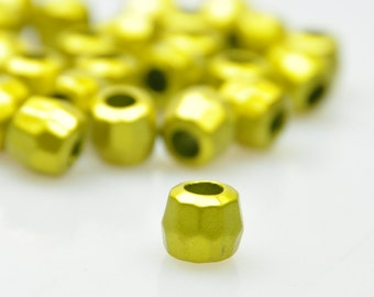 25 Pcs Olive Oil Color Acrylic Beads, Polygon Spacer Beads, Jewelry Making Supplies