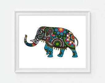 Indian Elephant Art Print, Elephant Art, Indian Artwork, Boho Art, Bohemiam Art, Animal Art Print, 5x7, 8x10, 11x14 Wall Decor