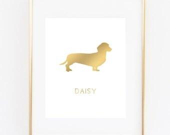 Dachshund Art Print, Weiner Dog, Faux Gold Dachshund Print, Personalized Dog Print, 5x7, 8X10, 11x14 Pet Print