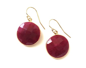 Large 16mm Ruby Gold Earrings, Dangle, Faceted Round Ruby, Gold Filled Wires