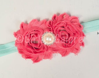 Coral Aqua headband, Baby Headband, Shabby Chic Flower Headband, Baby Girl Headband, Baby Hairbows, Newborn Headband