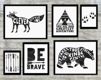 Monochrome Nursery, Be Brave , Black and White Nursery Art Printable Gallery Wall Set, Bear, Fox, Arrows, Teepee, monochrome nursery art